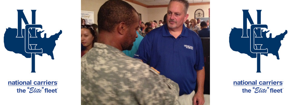 Lead recruiter, James Rampy thanks a soldier for his service to our country.