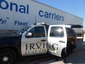 Irving, TX police department picks up donation at NCI yard.