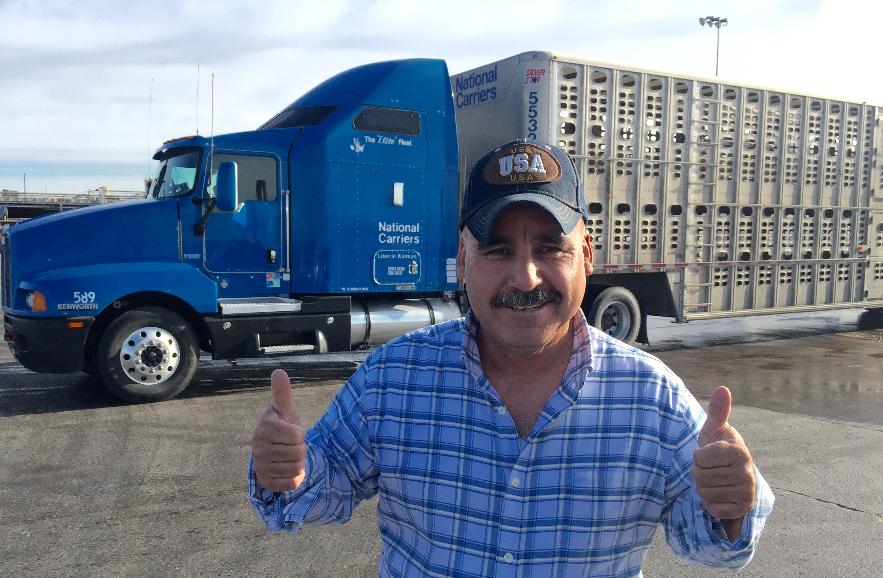 thumbs up with truck