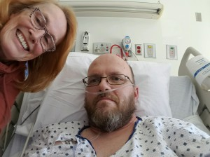 Hospital bed with Mom