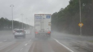 Back of trailer in the rain