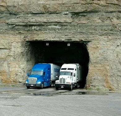 Close up a cave 2 trucks 6.16
